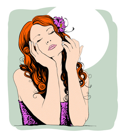 Pop art portrait of a dreaming lovely woman with place for text. photo