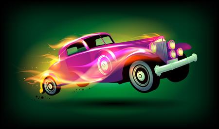 car racing: Retro racing car cartoon design.