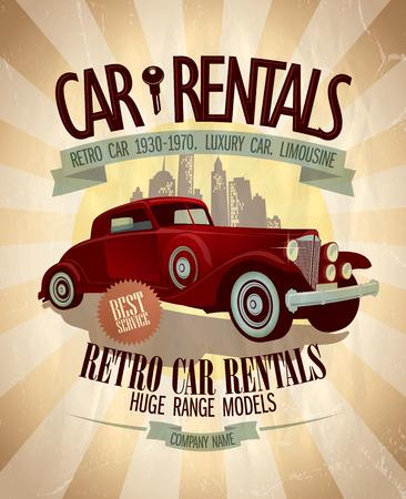 Retro car rentals Design mit Oldtimer. Standard-Bild - 36308172