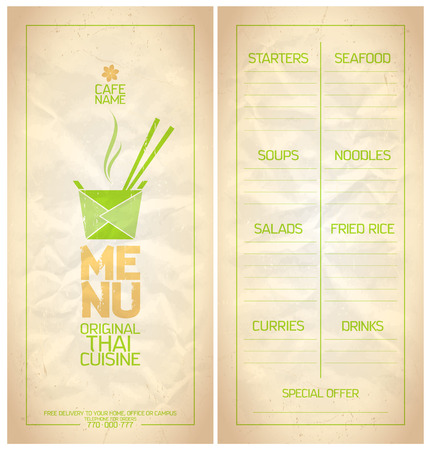 chinese take away container: Original Thai food menu list design.