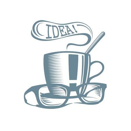 logo de comida: Logo almuerzo de negocios. Taza de té con gafas y globo idea discurso. Vectores