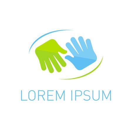 manos logo: Piso arte manos plantilla de logotipo.