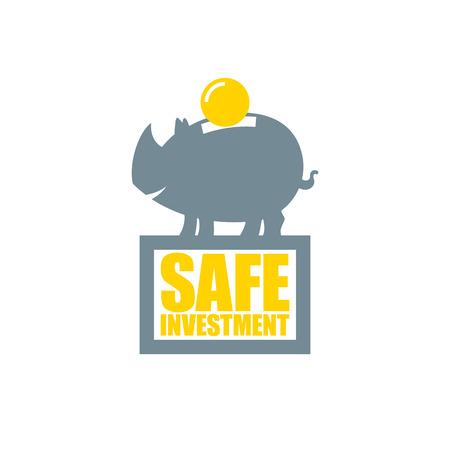 safe investment: Safe investment symbol, saving money in a piggy bank. Illustration