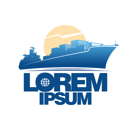 sea port: Cargo ship silhouette against sun logo concept. Illustration