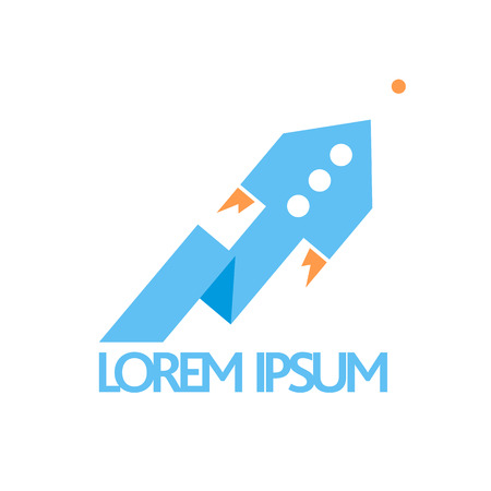 logo marketing: Blue fast rocket pointer symbol.