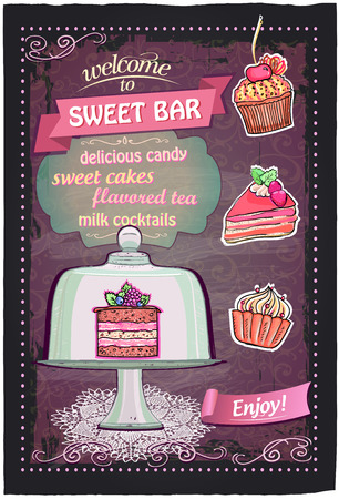 dulces: Barra de chocolate de diseño del menú pizarra handdrawn Sweet.