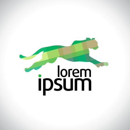 Green running panther flat logo template.
