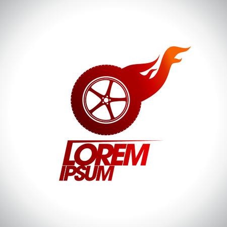dealership: Red hot wheel logo template. Illustration