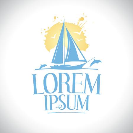 logotipo turismo: Velero contra el sol con delfines logo concepto.