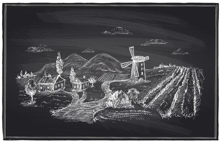 vi�edo: Paisaje rural, molino de viento y vi�edo ilustraci�n tiza. Vectores