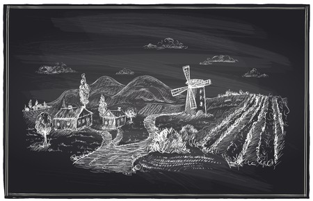 wine road: Rural landscape, windmill and vineyard chalk illustration. Illustration