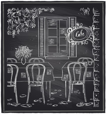 Outdoor old cafe chalk sketch on a blackboard.
