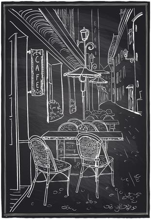 Street cafe in old town chalk sketch on a blackboard.