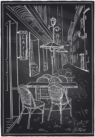 cafe table: Street cafe in old town chalk sketch on a blackboard.