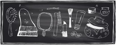 Chalkboard set of beauty and cosmetics symbols. Vector