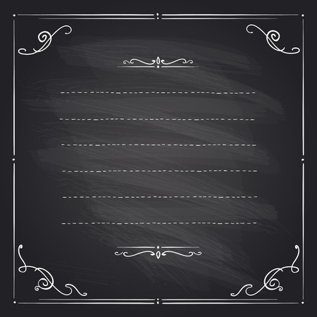 Chalkboard frame with antique curls and place for text.