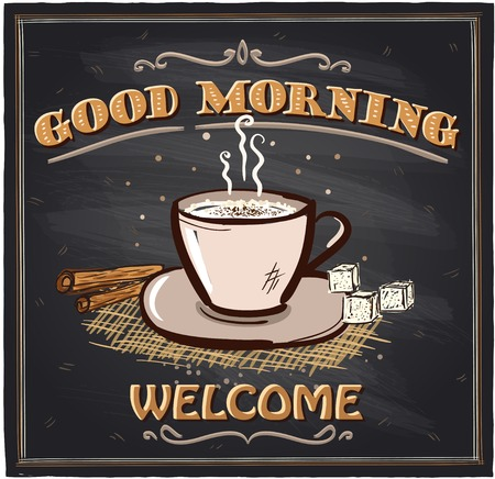 Goedemorgen krijtbord cafe bord met koffiemok.
