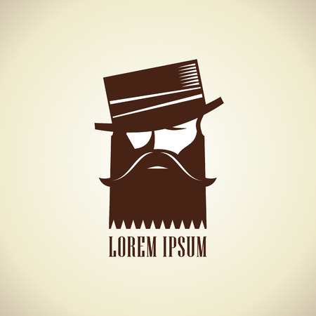 handsome man: Hipster man with a beard and mustache in hat stylish logo template.