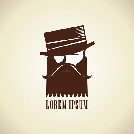 Hombre inconformista con barba y bigote en el sombrero elegante plantilla de logotipo.