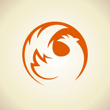 crop circle: Chicken silhouette in a circle logo template. Illustration