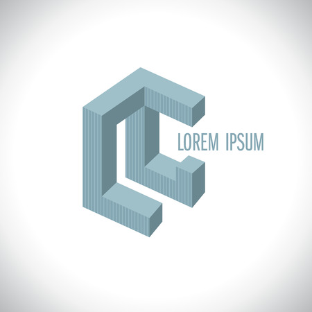 3Dabstract logo template resembling letters L and G or L and C. Illustration