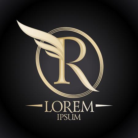 ali angelo: Elegante lettera R con ala logo modello.