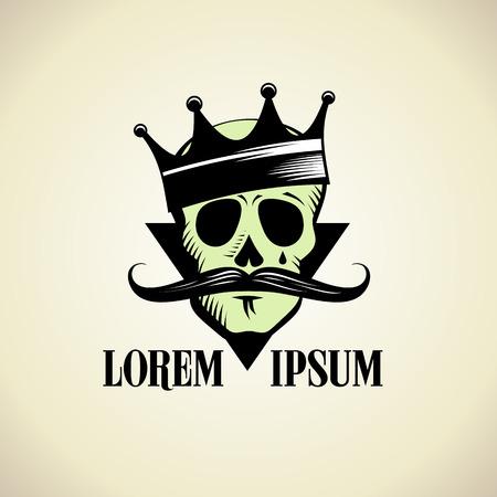 Hipster Schädel mit Krone grafisches Symbol. Illustration