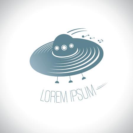 flying saucer: Music flying saucer logo template.