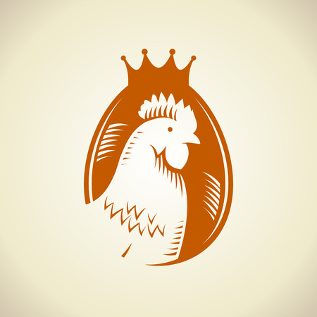 cartoon chicken: Hen silhouette against egg logo, royal quality food symbol.