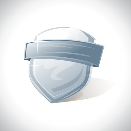 safe guard: Metal shield with ribbon  template. Illustration