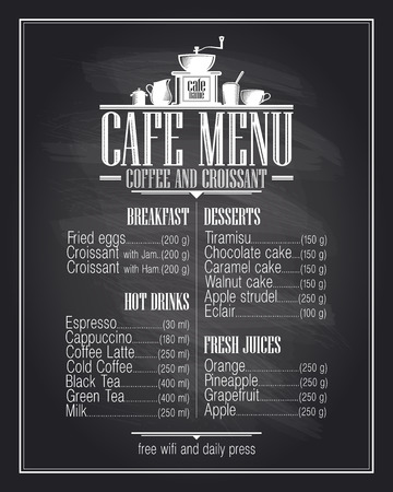coffee menu: Chalkboard cafe menu list design with dishes name, retro style.