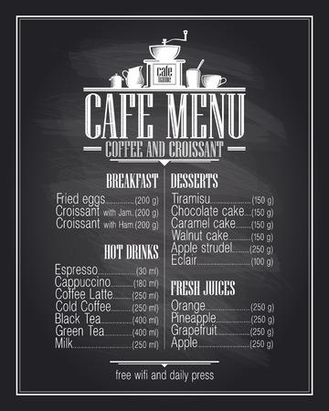 Krijtbord cafe menulijst ontwerp met gerechten naam, retro-stijl. Stock Illustratie