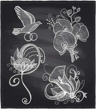 wed: Chalkboard wedding floral hand drawn graphic set.