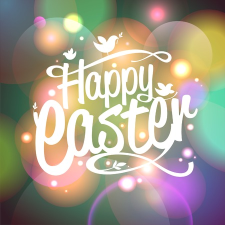 religious: Happy Easter card with bokeh lights. Eps10.