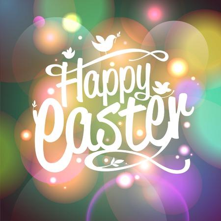Happy Easter kaart met bokeh lichten. Eps10. Stock Illustratie