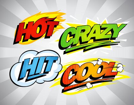 Hot, crazy, hit, cool pop-art symbols set. Vettoriali