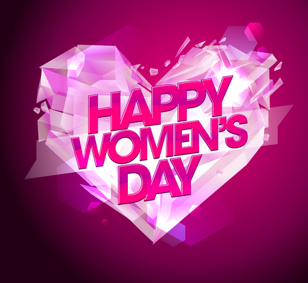coeur diamant: Bonne carte de jours Women`s avec le coeur de diamant.