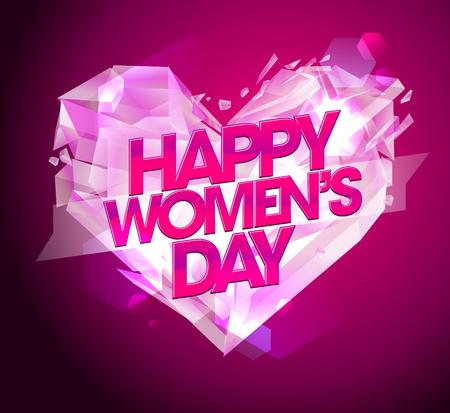 heart diamond: Happy Women`s day card with diamond heart. Illustration