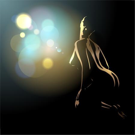 Belle nue silhouette corps de la jeune et sexy femme, illustration vectorielle avec place pour le texte. Banque d'images - 37187618