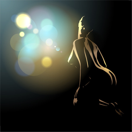 Beautiful naked body silhouette of young and sexy woman, vector illustration with place for text. Illustration