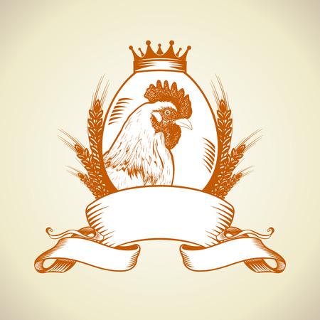 ファーム鶏、卵、リボン、ヴィンテージ食品シンボル条件下におけるコムギとアイコン。