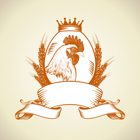 Farm icon with hen,egg and wheat under ribbon,vintage food symbol. Иллюстрация