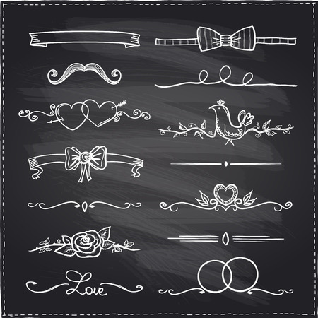 Chalkboard hand drawn graphic elements, love and  wedding theme.
