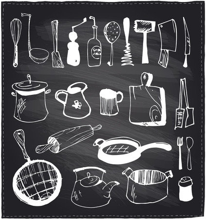 pepper mill: Hand drawn set of kitchen utensils on a chalkboard background.