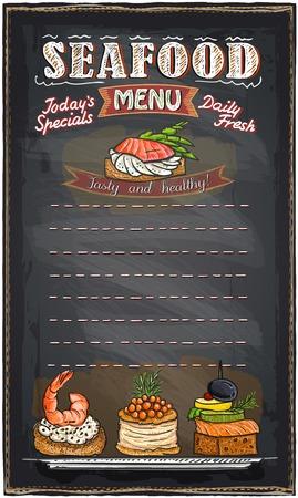 물고기 카나페와 해산물 메뉴 목록 칠판 분필 그림입니다.