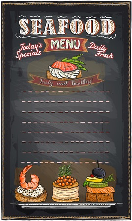 Seafood menu list blackboard chalk illustration with fish canapes.