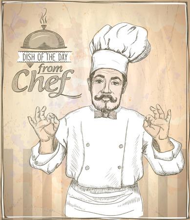 Graphic Handzeichnung Küchenchef zeigt in Ordnung, Vintage-Stil.