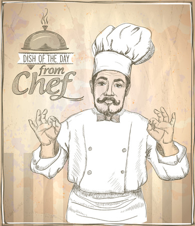 Graphic hand drawing chef cook showing okay, vintage style. Illustration