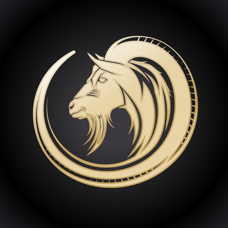 Gold goat in circle