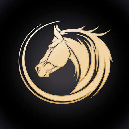 sports race emblem: Gold horse template.